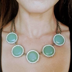 Aqua Stone and Crystal Necklace